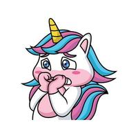 Cute Unicorn Cartoon is Scared vector