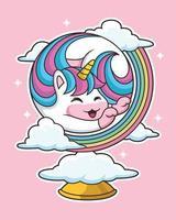 Linda caricatura de unicornio con linda pose rodeada de nubes
