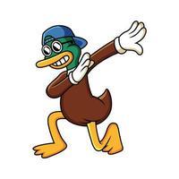 Dabbing cartoon duck. Vector clip art illustration with funny pose.
