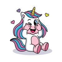 Cute Expression of Unicorn Cartoon with Sweet Smile and Hearts vector