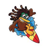 lindo pato surfeando con dibujos animados de expresión fresca vector