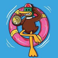 lindo pato nadando con tubo y sosteniendo jugo de dibujos animados vector