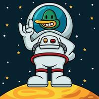 Astronaut Duck Vector Icon Illustration. Mascot Cartoon Character. Animal Icon Concept White Isolated.