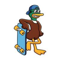 Cool duck with funny pose with skateboard cartoon illustration. Animal icon concept isolated in white background. vector