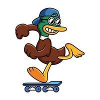 Ilustración de dibujos animados de vector de patinaje lindo pato. gato jugando concepto de skate. dibujos animados de pato.