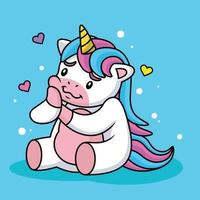 Unicorn Cartoon in Love with Cute Pose. Animal Nature Concept vector