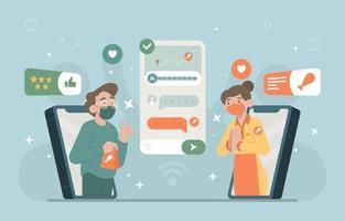 pedir comida a través del servicio en línea vector