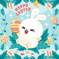 Cute White Easter Rabbit and Colourful Egg Decorations vector