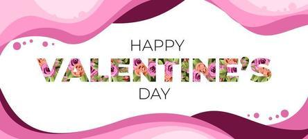 Valentine's Day Flower Lettering vector
