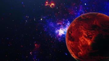 Universe Scene with Red Planet and Blue Nebula video