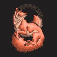 vector de ilustración ornamental hermoso zorro