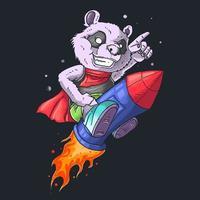 panda en el vector de ilustración de cohete