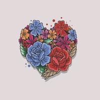 floral rose heart shape illustration vector