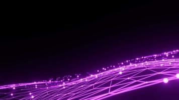 Purple Digital Connection Moving Dots and Lines Loop