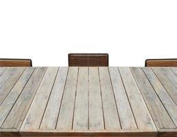 mesa y sillas en blanco