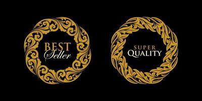 vector de adornos de marco de emblema de oro redondo