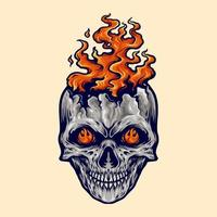 Angry Skull Flame Fire Illustration vector