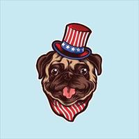Caballero bulldog americano con sombrero vector