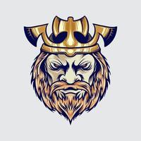 King Viking Head with Axe Crown Cartoon Illustration