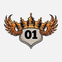 insignia rey volando corona ilustración vector
