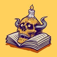 cráneo humano y libro con vela vector