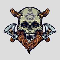 cráneo vikingo guerrero con hacha ilustración vector