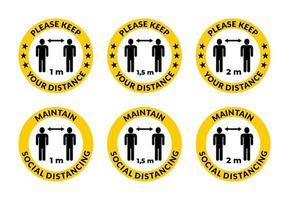 mantenga la distancia: mantenga el distanciamiento social, icono de instrucción contra la propagación del coronavirus vector