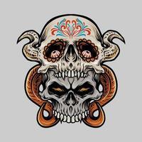 two sugar skullillustration vector
