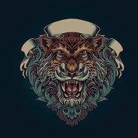 cabeza de tigre con adornos y estandarte. vector