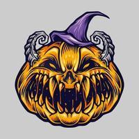 Spooky Creepy Halloween Pumpkin with Hat Illustration vector