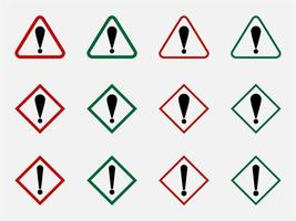 Attention Danger or Hazard Warning Sign with Exclamation Mark and triangle Shaped Frame. vector