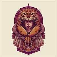 Vintage Tiger Girl Mystical Vector Illustration