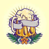 fiesta de la cerveza de verano con flores vector