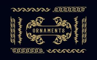 Collection of gold label and Frame ornaments vector