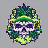 Cannabis leaf skull with smoke vector
