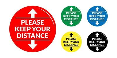 Set of Please Keep Your Distance Round Social Distancing Badge or Floor Marking Sticker Icon For Queue Line. Vector Image.