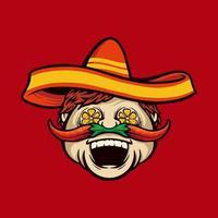 Chef con sombrero y mascota de bigote de chile vector