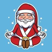 Illustration of Santa Relaxing with Cute Pose. vector