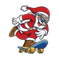 Illustration of Santa Claus skateboarding. People Sport Icon Concept Isolated Premium Vector.