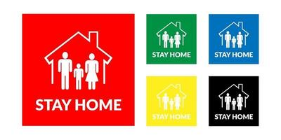 set of stay home icon illustration with house and family symbol vector