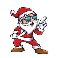 Cute Illustration of Santa with Funny Pose. People Holiday Icon Concept vector