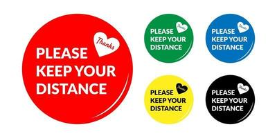 PrintSet of Please Keep Your Distance Round Social Distancing Badge or Floor Marking Sticker Icon For Queue Line. vector