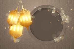 Realistic islamic background with lantern
