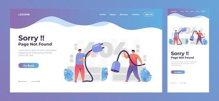 404 page not found landing page concept vector