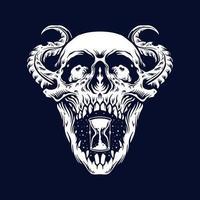 demonio cráneo zombie tatuaje vector