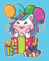 Cartoon unicorn party with balloons and gifts vector