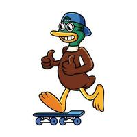 Cool duck with skateboard with funny pose. Animal cartoon illustration isolated in white background. vector