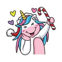 Cartoon unicorn is celebrating christmas with cute pose vector