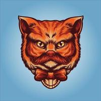 Orange cute gentleman cat head vector