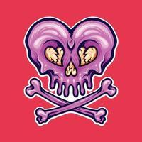 Broken Heart Skull vector